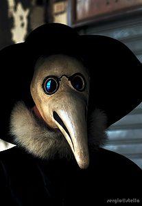 La Maschera del Carnevale Veneziano che rappresenta i medici che si proteggevano dal virus